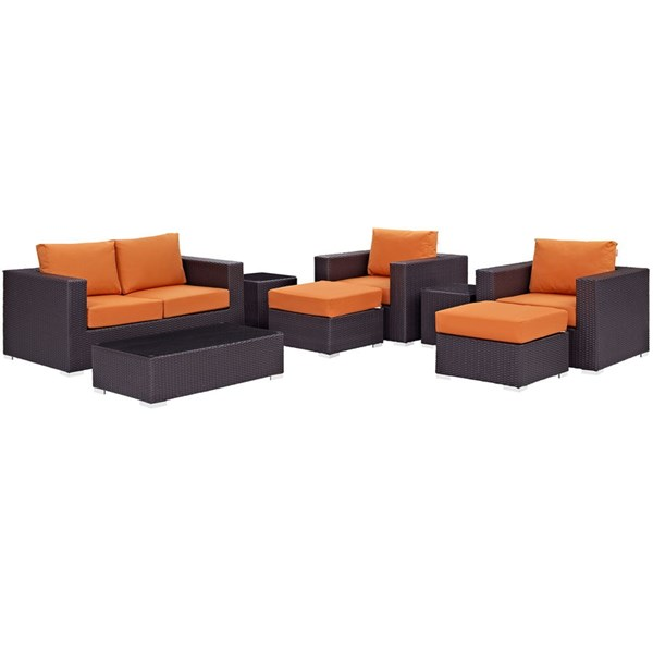 Convene Espresso Orange Fabric Rattan Glass 8pc Outdoor Patio Sofa Set EEI-2159-EXP-ORA-SET