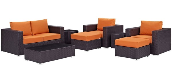 Modway Furniture Convene Espresso Orange 8pc Outdoor Sofa Set EEI-2159-EXP-ORA-SET