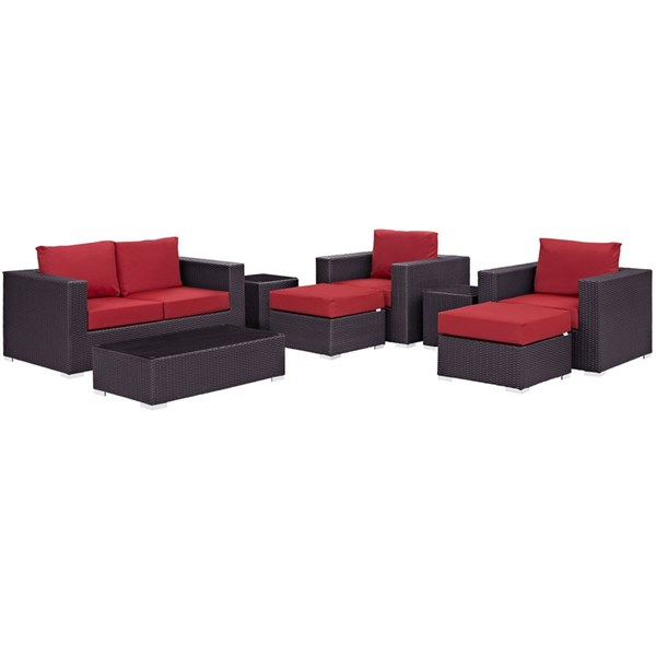 Modway Furniture Convene Espresso Red 8pc Outdoor Sofa Set EEI-2159-EXP-RED-SET