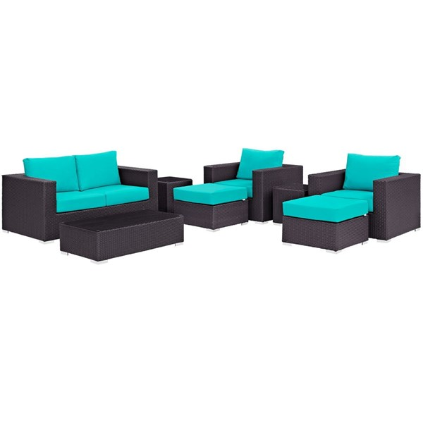 Convene Espresso Turquoise Fabric Rattan 8pc Outdoor Patio Sofa Set EEI-2159-EXP-TRQ-SET