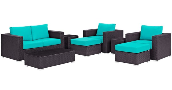 Modway Furniture Convene Espresso Turquoise 8pc Outdoor Sofa Set EEI-2159-EXP-TRQ-SET