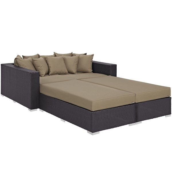 Modway Furniture Convene Espresso Mocha 4pc Outdoor Patio Daybed EEI-2160-EXP-MOC-SET