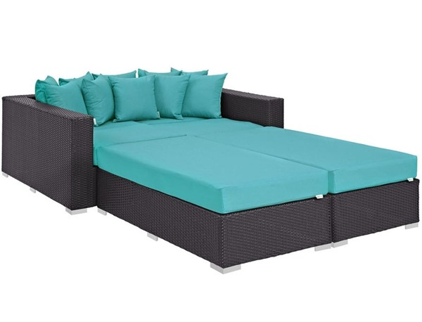 Modway Furniture Convene Espresso Turquoise 4pc Outdoor Patio Daybed EEI-2160-EXP-TRQ-SET