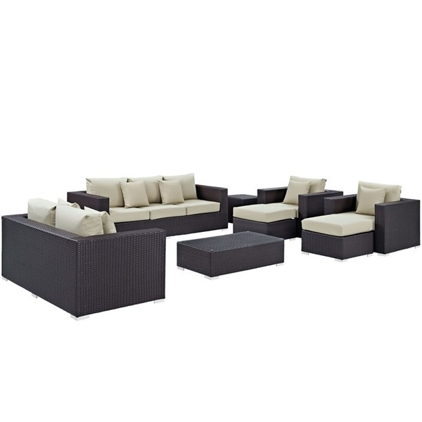 Modway Furniture Convene Espresso Beige 9pc Outdoor Patio Sofa Set EEI-2161-EXP-BEI-SET