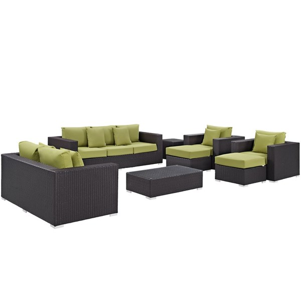 Modway Furniture Convene Espresso Peridot 9pc Outdoor Patio Sofa Set EEI-2161-EXP-PER-SET