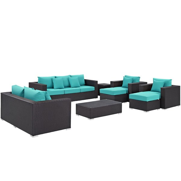 Modway Furniture Convene Espresso Turquoise 9pc Outdoor Patio Sofa Set EEI-2161-EXP-TRQ-SET