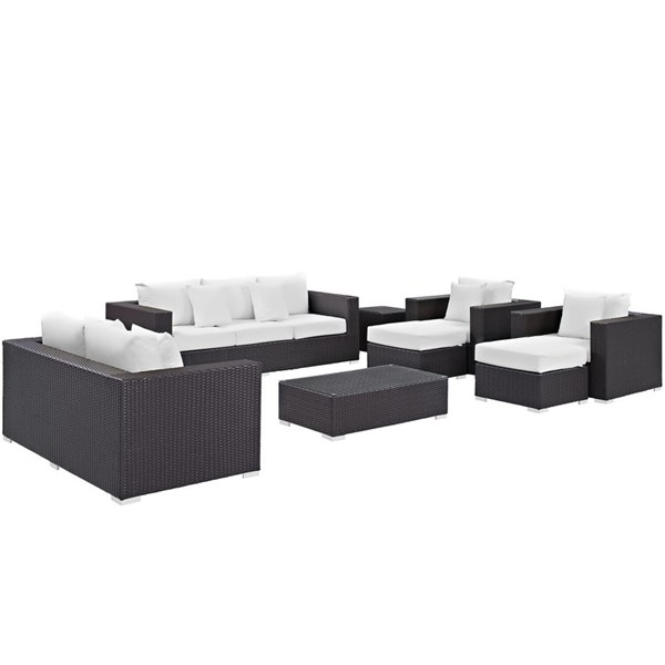 Convene Espresso White Fabric Rattan Glass 9pc Outdoor Patio Sofa Set EEI-2161-EXP-WHI-SET