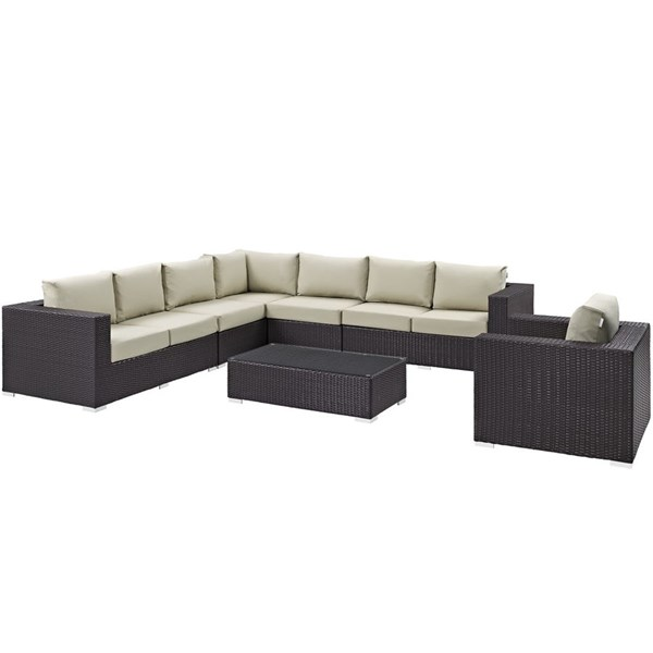 Convene Beige Fabric EXP Rattan Glass 7pc Outdoor Patio Sectional Sets EEI-2162-OS-SEC-VAR