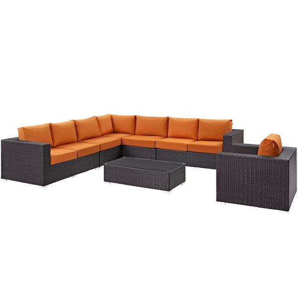 Modway Furniture Convene Espresso Orange Fabric 7pc Outdoor Patio Sectional Set EEI-2162-EXP-ORA-SET