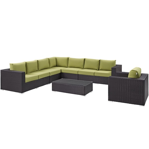 Modway Furniture Convene Espresso Peridot Fabric 7pc Outdoor Patio Sectional Set EEI-2162-EXP-PER-SET