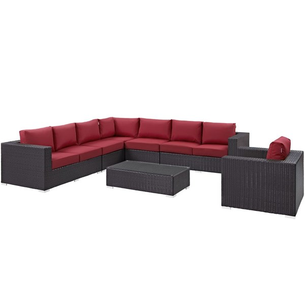 Convene Red Fabric EXP Rattan Glass 7pc Outdoor Patio Sectional Set EEI-2162-EXP-RED-SET