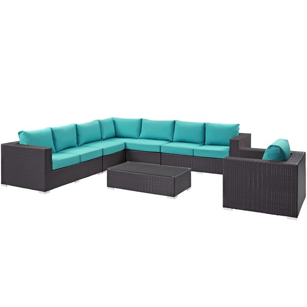 Convene Turquoise Fabric EXP Rattan 7pc Outdoor Patio Sectional Set EEI-2162-EXP-TRQ-SET