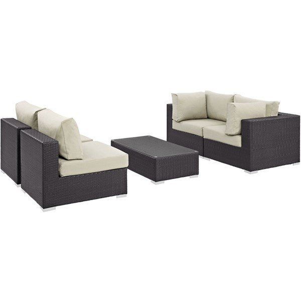 Modway Furniture Convene 5pc Outdoor Patio Sectional Sets EEI-2163-OS-SEC-VAR