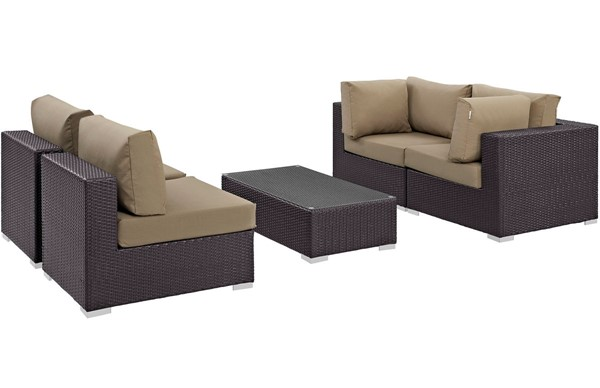 Modway Furniture Convene Espresso Mocha 5pc Outdoor Patio Sectional Set EEI-2163-EXP-MOC-SET