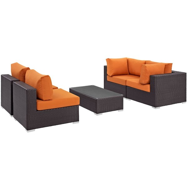 Convene Orange Fabric EXP Rattan 5pc Outdoor Patio Sectional Set EEI-2163-EXP-ORA-SET