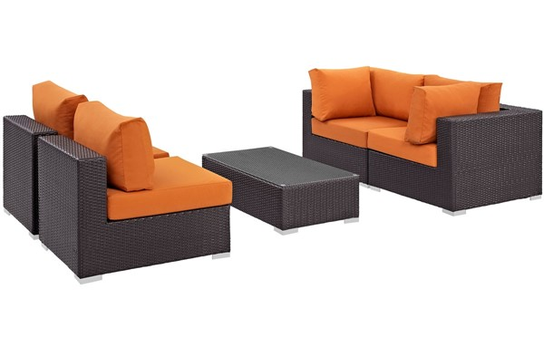 Modway Furniture Convene Espresso Orange 5pc Outdoor Patio Sectional Set EEI-2163-EXP-ORA-SET