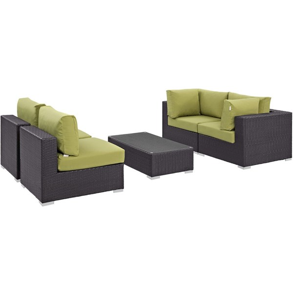 Convene Peridot Fabric EXP Rattan 5pc Outdoor Patio Sectional Set EEI-2163-EXP-PER-SET