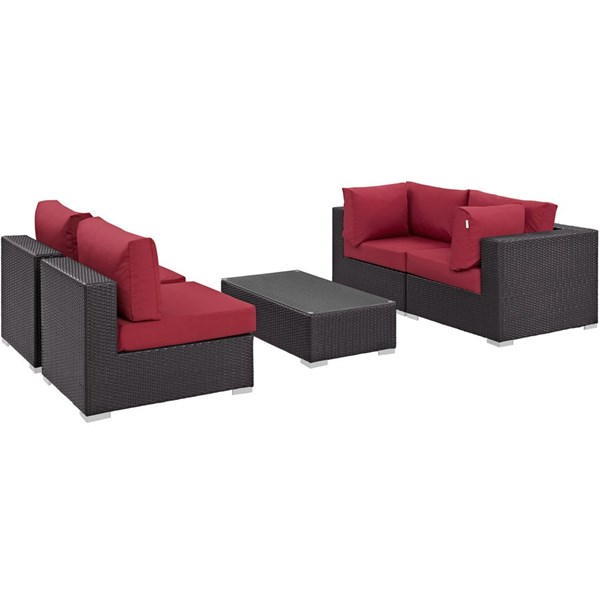 Convene Espresso Red Fabric EXP Rattan 5pc Outdoor Patio Sectional Set EEI-2163-EXP-RED-SET