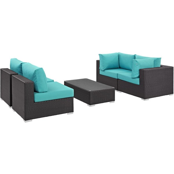 Convene Turquoise Fabric EXP Rattan 5pc Outdoor Patio Sectional Set EEI-2163-EXP-TRQ-SET