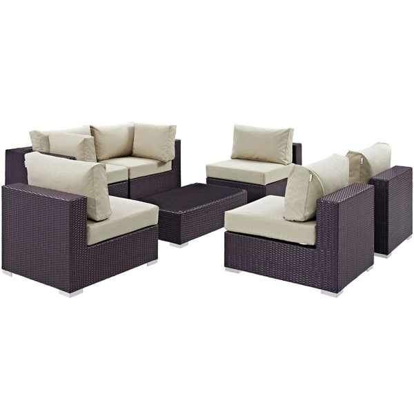 Convene Beige Fabric Rattan Glass 7pc Outdoor Patio Sofa Sets EEI-2164-OS-SS-VAR