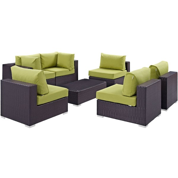 Modway Furniture Convene Espresso Peridot 7pc Outdoor Patio Sofa Set EEI-2164-EXP-PER-SET