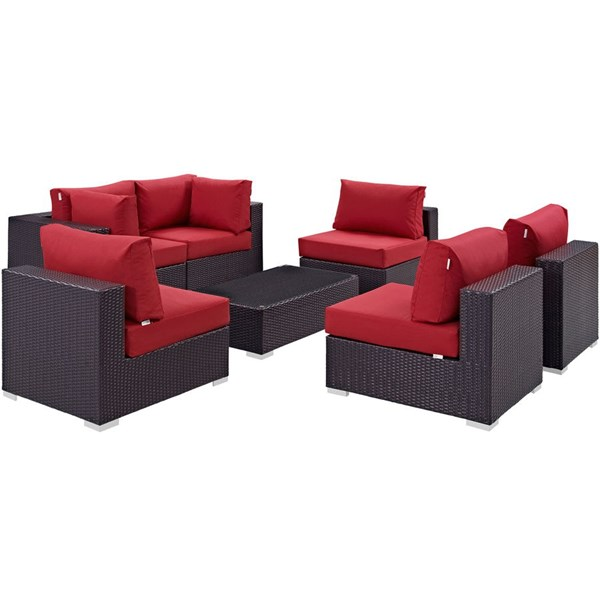 Modway Furniture Convene Espresso Red 7pc Outdoor Patio Sofa Set EEI-2164-EXP-RED-SET