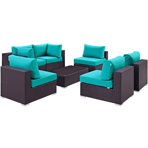 Convene Turquoise Fabric Rattan Glass 7pc Outdoor Patio Sofa Set EEI-2164-EXP-TRQ-SET