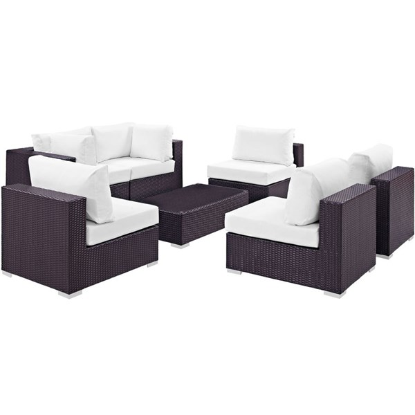 Modway Furniture Convene Espresso White 7pc Outdoor Patio Sofa Set EEI-2164-EXP-WHI-SET