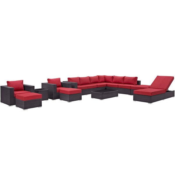 Convene Red Fabric EXP Rattan Glass 12pc Outdoor Patio Sectional Set EEI-2165-EXP-RED-SET