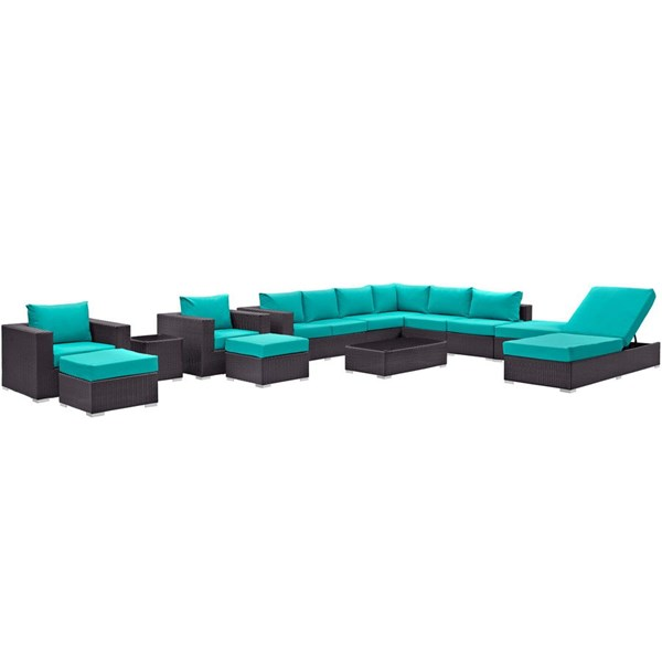Convene Turquoise Fabric EXP Rattan 12pc Outdoor Patio Sectional Set EEI-2165-EXP-TRQ-SET