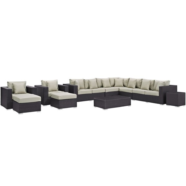 Modway Furniture Convene 11pc Outdoor Patio Sectional Sets EEI-2166-OS-SEC-VAR