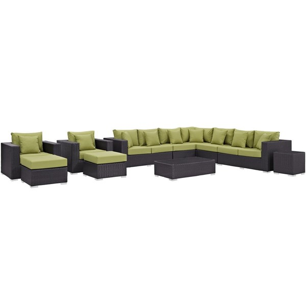 Modway Furniture Convene Espresso Peridot 11pc Outdoor Patio Sectional Set EEI-2166-EXP-PER-SET