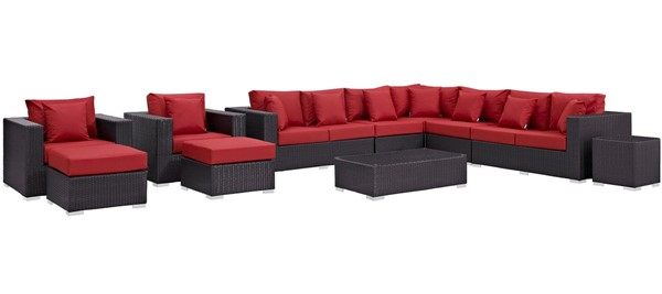 Modway Furniture Convene Espresso Red 11pc Outdoor Patio Sectional Set EEI-2166-EXP-RED-SET