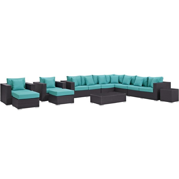 Modway Furniture Convene Espresso Turquoise 11pc Outdoor Patio Sectional Set EEI-2166-EXP-TRQ-SET