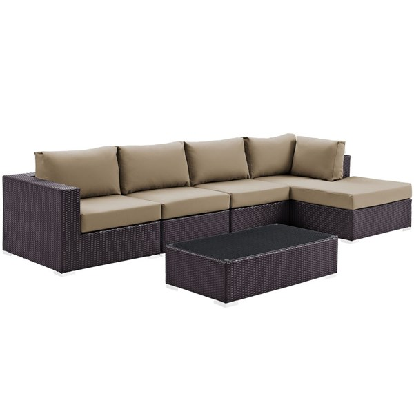 Modway Furniture Convene Espresso Mocha 5pc Outdoor Patio Sectional Set with RAF Chaise EEI-2167-EXP-MOC-SET