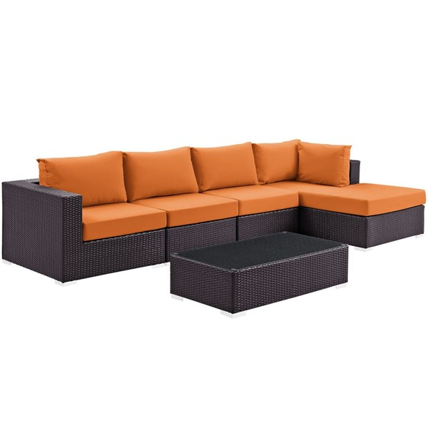 Modway Furniture Convene Espresso Orange 5pc Outdoor Patio Sectional Set with RAF Chaise EEI-2167-EXP-ORA-SET