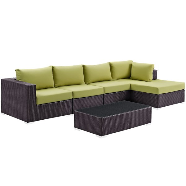 Modway Furniture Convene Espresso Peridot 5pc Outdoor Patio Sectional Set with RAF Chaise EEI-2167-EXP-PER-SET