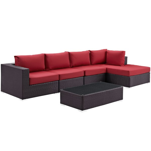 Convene Red Fabric Rattan 5pc Outdoor Sectional Set w/RAF Chaise EEI-2167-EXP-RED-SET