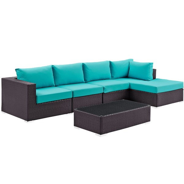 Convene Turquoise Fabric Rattan 5pc Outdoor Sectional Set w/RAF Chaise EEI-2167-EXP-TRQ-SET