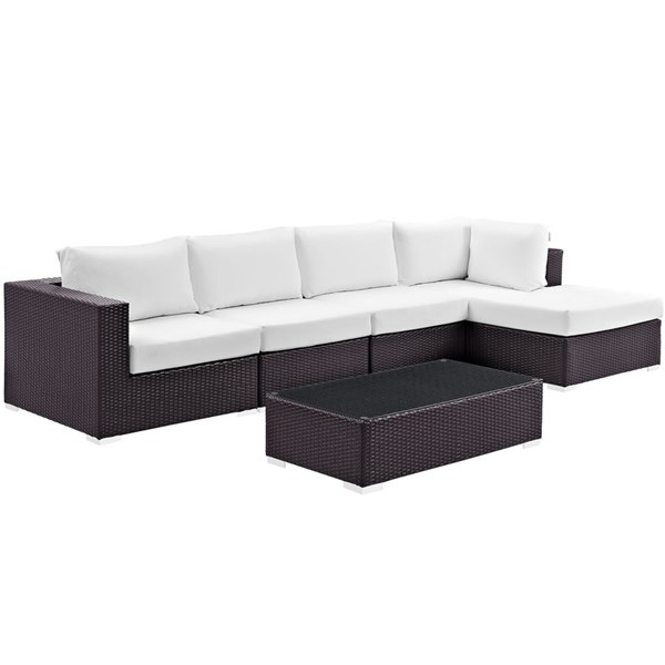 Modway Furniture Convene Espresso White 5pc Outdoor Patio Sectional Set with RAF Chaise EEI-2167-EXP-WHI-SET
