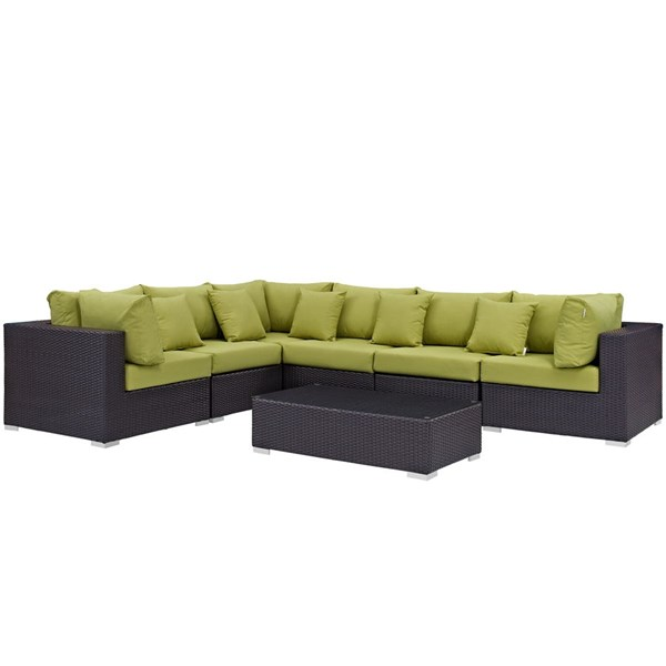 Modway Furniture Convene Expresso Peridot 7pc Outdoor Patio Sectional Set EEI-2168-EXP-PER-SET