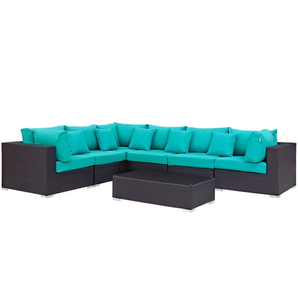 Modway Furniture Convene Espresso Turquoise 7pc Outdoor Patio Sectional Set EEI-2168-EXP-TRQ-SET