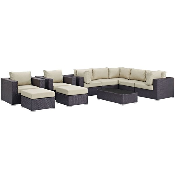 Convene Espresso Beige Fabric Rattan 10pc Outdoor Patio Sectional Sets EEI-2169-OS-SEC-VAR