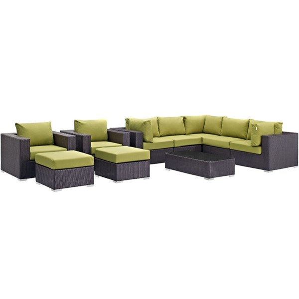 Modway Furniture Convene Espresso Peridot 10pc Outdoor Patio Sectional Set EEI-2169-EXP-PER-SET