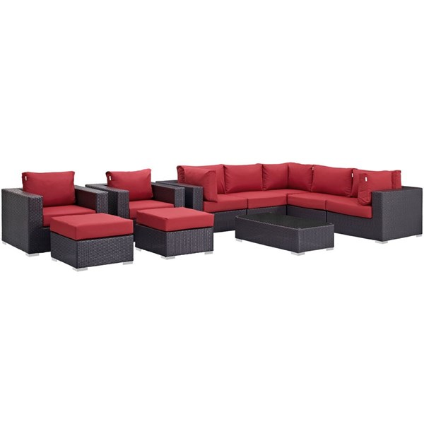 Convene Espresso Red Fabric Rattan 10pc Outdoor Patio Sectional Set EEI-2169-EXP-RED-SET