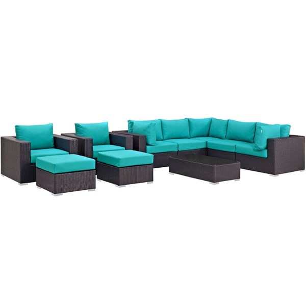 Modway Furniture Convene Espresso Turquoise 10pc Outdoor Patio Sectional Set EEI-2169-EXP-TRQ-SET