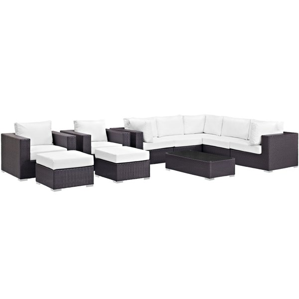 Convene Espresso White Fabric Rattan 10pc Outdoor Patio Sectional Set EEI-2169-EXP-WHI-SET
