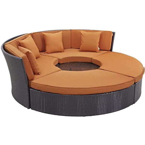 Modway Furniture Convene Espresso Orange Circular Outdoor Patio Daybed Set EEI-2171-EXP-ORA-SET