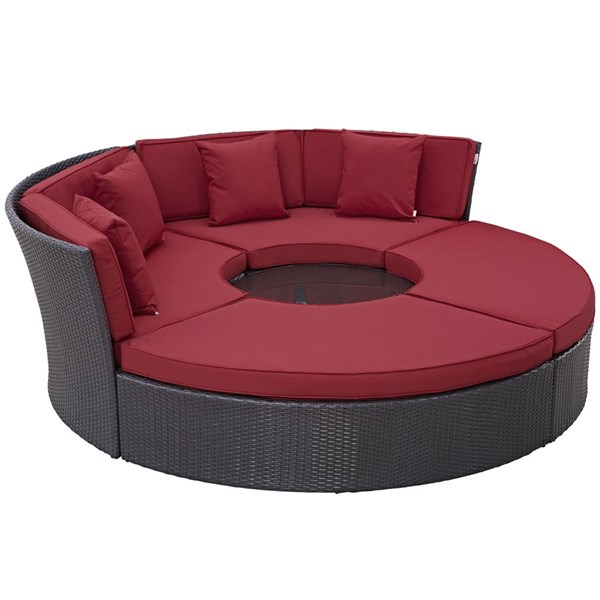 Modway Furniture Convene Espresso Red Circular Outdoor Patio Daybed Set EEI-2171-EXP-RED-SET
