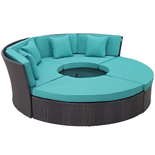 Modway Furniture Convene Espresso Turquoise Circular Outdoor Patio Daybed Set EEI-2171-EXP-TRQ-SET